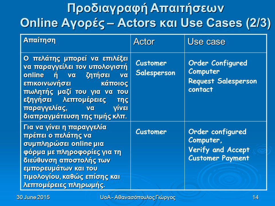 30 June 201530 June 201530 June 2015UoA - Αθανασόπουλος Γιώργος14 Προδιαγραφή Απαιτήσεων Online Αγορές – Actors και Use Cases (2/3) ΑπαίτησηActor Use case Ο πελάτης μπορεί να επιλέξει να παραγγείλει τον υπολογιστή online ή να ζητήσει να επικοινωνήσει κάποιος πωλητής μαζί του για να του εξηγήσει λεπτομέρειες της παραγγελίας, να γίνει διαπραγμάτευση της τιμής κλπ.