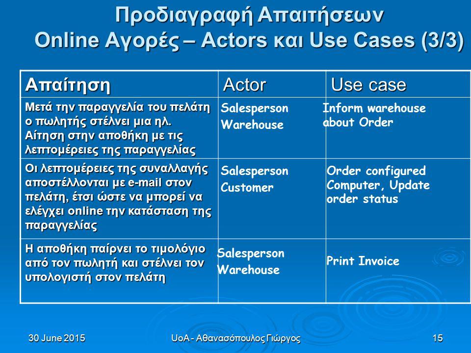 30 June 201530 June 201530 June 2015UoA - Αθανασόπουλος Γιώργος15 Προδιαγραφή Απαιτήσεων Online Αγορές – Actors και Use Cases (3/3) ΑπαίτησηActor Use case Μετά την παραγγελία του πελάτη ο πωλητής στέλνει μια ηλ.
