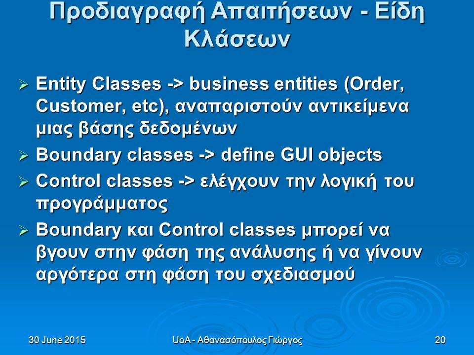30 June 201530 June 201530 June 2015UoA - Αθανασόπουλος Γιώργος20 Προδιαγραφή Απαιτήσεων - Είδη Κλάσεων  Entity Classes -> business entities (Order, Customer, etc), αναπαριστούν αντικείμενα μιας βάσης δεδομένων  Boundary classes -> define GUI objects  Control classes -> ελέγχουν την λογική του προγράμματος  Boundary και Control classes μπορεί να βγουν στην φάση της ανάλυσης ή να γίνουν αργότερα στη φάση του σχεδιασμού