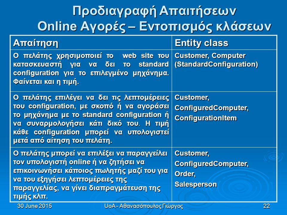 30 June 201530 June 201530 June 2015UoA - Αθανασόπουλος Γιώργος22 Προδιαγραφή Απαιτήσεων Online Αγορές – Eντοπισμός κλάσεων Απαίτηση Entity class Ο πελάτης χρησιμοποιεί το web site του κατασκευαστή για να δει το standard configuration για το επιλεγμένο μηχάνημα.