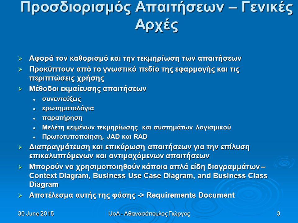 30 June 201530 June 201530 June 2015UoA - Αθανασόπουλος Γιώργος3 Προσδιορισμός Απαιτήσεων – Γενικές Αρχές  Αφορά τον καθορισμό και την τεκμηρίωση των απαιτήσεων  Προκύπτουν από το γνωστικό πεδίο της εφαρμογής και τις περιπτώσεις χρήσης  Μέθοδοι εκμαίευσης απαιτήσεων συνεντεύξεις συνεντεύξεις ερωτηματολόγια ερωτηματολόγια παρατήρηση παρατήρηση Μελέτη κειμένων τεκμηρίωσης και συστημάτων λογισμικού Μελέτη κειμένων τεκμηρίωσης και συστημάτων λογισμικού Πρωτοτυποποίηση, JAD και RAD Πρωτοτυποποίηση, JAD και RAD  Διαπραγμάτευση και επικύρωση απαιτήσεων για την επίλυση επικαλυπτόμενων και αντιμαχόμενων απαιτήσεων  Μπορούν να χρησιμοποιηθούν κάποια απλά είδη διαγραμμάτων – Context Diagram, Business Use Case Diagram, and Business Class Diagram  Αποτέλεσμα αυτής της φάσης -> Requirements Document