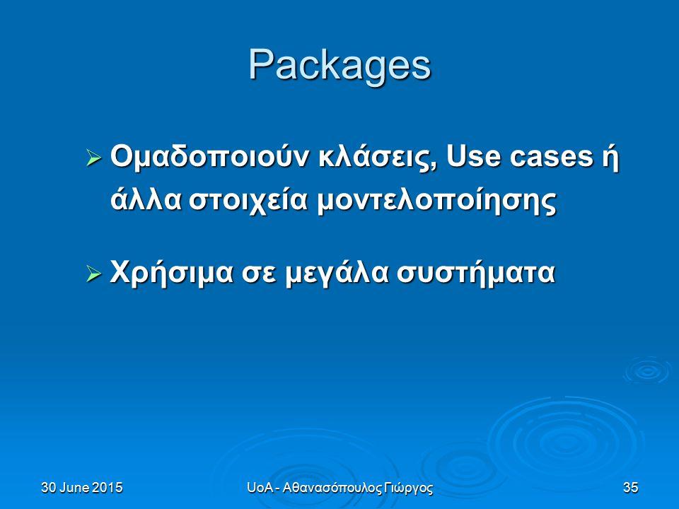 30 June 201530 June 201530 June 2015UoA - Αθανασόπουλος Γιώργος35 Packages  Ομαδοποιούν κλάσεις, Use cases ή άλλα στοιχεία μοντελοποίησης  Χρήσιμα σε μεγάλα συστήματα