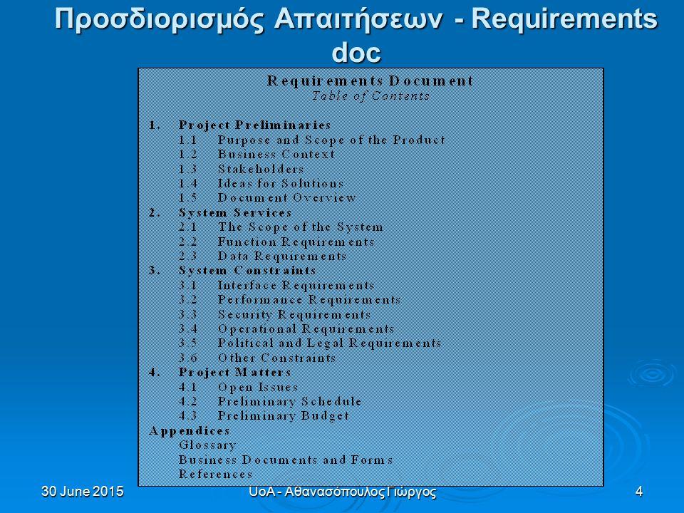 30 June 201530 June 201530 June 2015UoA - Αθανασόπουλος Γιώργος4 Προσδιορισμός Απαιτήσεων - Requirements doc