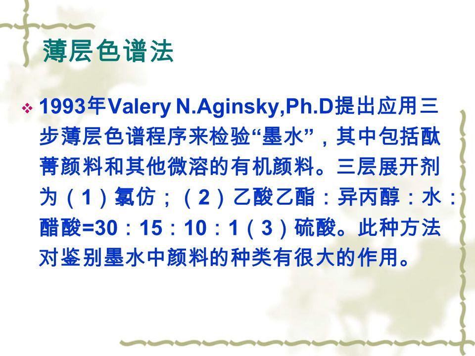 薄层色谱法  1993 年 Valery N.Aginsky,Ph.D 提出应用三 步薄层色谱程序来检验 墨水 ,其中包括酞 菁颜料和其他微溶的有机颜料。三层展开剂 为( 1 )氯仿;( 2 )乙酸乙酯:异丙醇:水: 醋酸 =30 : 15 : 10 : 1 ( 3 )硫酸。此种方法 对鉴别墨水中颜料的种类有很大的作用。