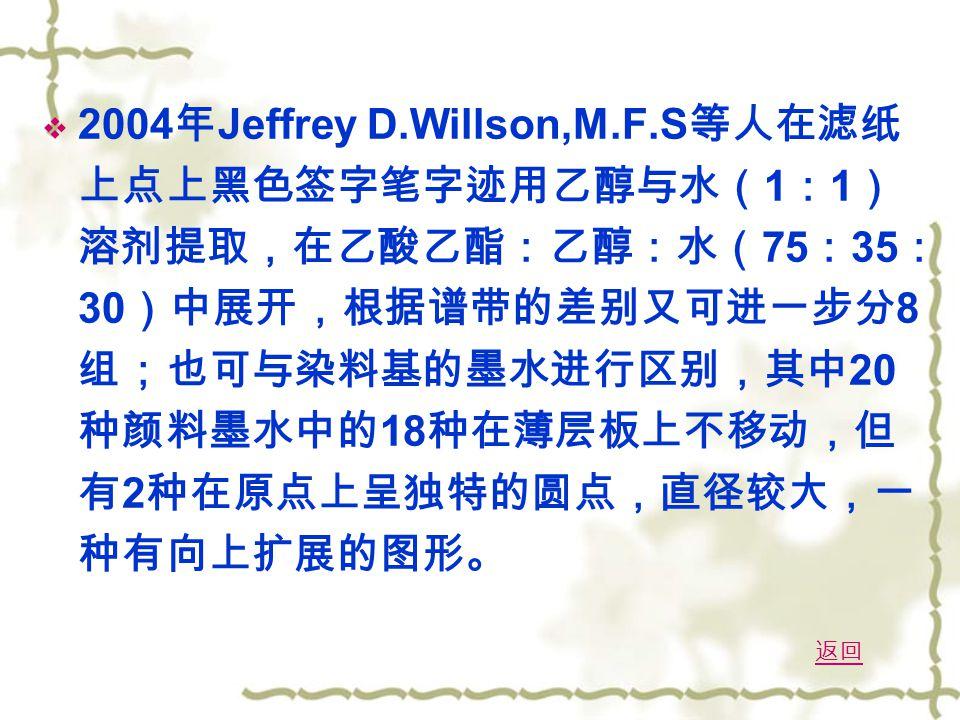  2004 年 Jeffrey D.Willson,M.F.S 等人在滤纸 上点上黑色签字笔字迹用乙醇与水( 1 : 1 ) 溶剂提取,在乙酸乙酯:乙醇:水( 75 : 35 : 30 )中展开,根据谱带的差别又可进一步分 8 组;也可与染料基的墨水进行区别,其中 20 种颜料墨水中的 18 种在薄层板上不移动,但 有 2 种在原点上呈独特的圆点,直径较大,一 种有向上扩展的图形。 返回