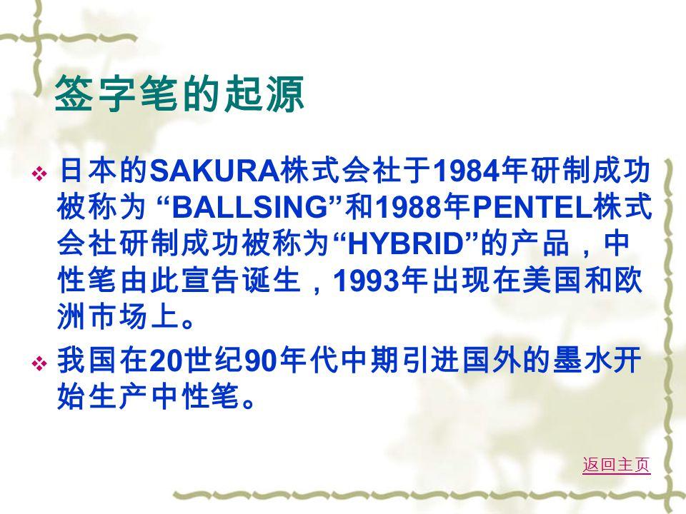 签字笔的起源  日本的 SAKURA 株式会社于 1984 年研制成功 被称为 BALLSING 和 1988 年 PENTEL 株式 会社研制成功被称为 HYBRID 的产品,中 性笔由此宣告诞生, 1993 年出现在美国和欧 洲市场上。  我国在 20 世纪 90 年代中期引进国外的墨水开 始生产中性笔。 返回主页