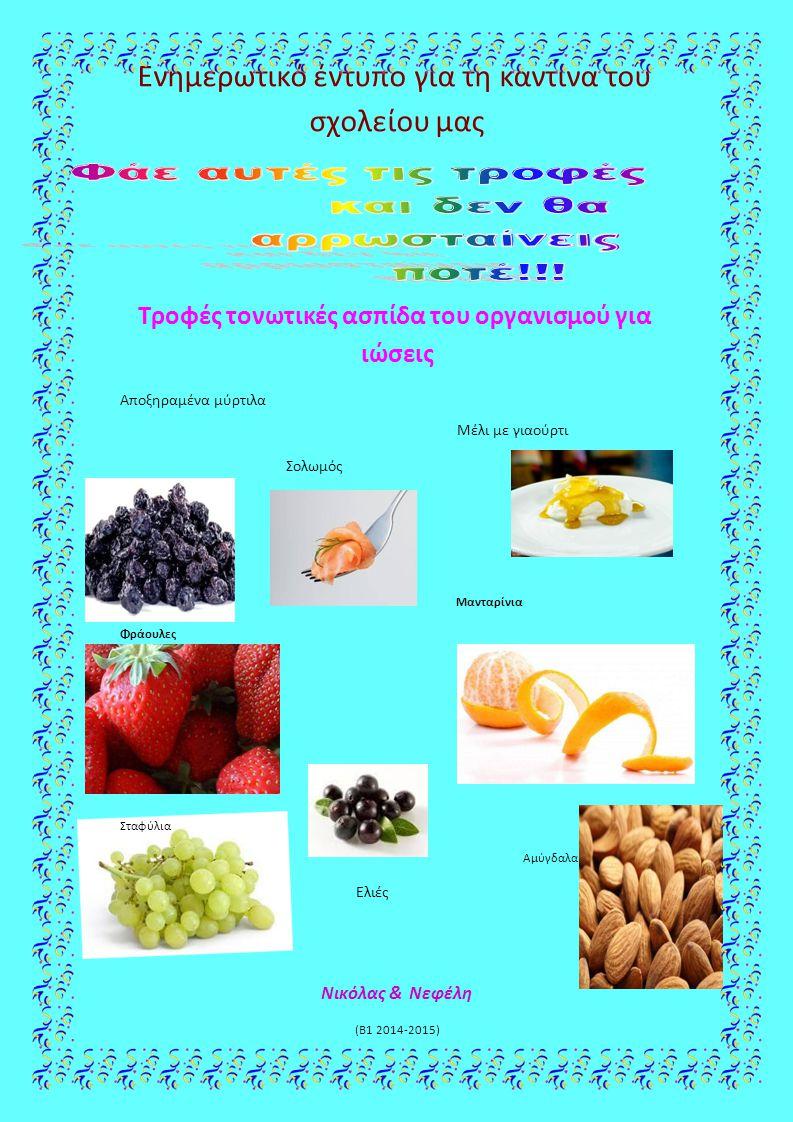 Ενημερωτικό έντυπο για τη καντίνα του σχολείου μας Τροφές τονωτικές ασπίδα του οργανισμού για ιώσεις Αποξηραμένα μύρτιλα Μέλι με γιαούρτι Σολωμός Μαντ