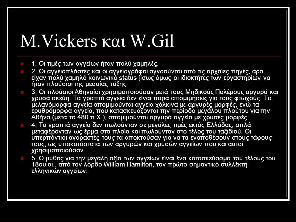 Μ.Vickers και W.Gil 1. Οι τιμές των αγγείων ήταν πoλύ χαμηλές. 2. Οι αγγειοπλάστες και οι αγγειογράφοι αγνοούνται από τις αρχαίες πηγές, άρα είχαν πολ