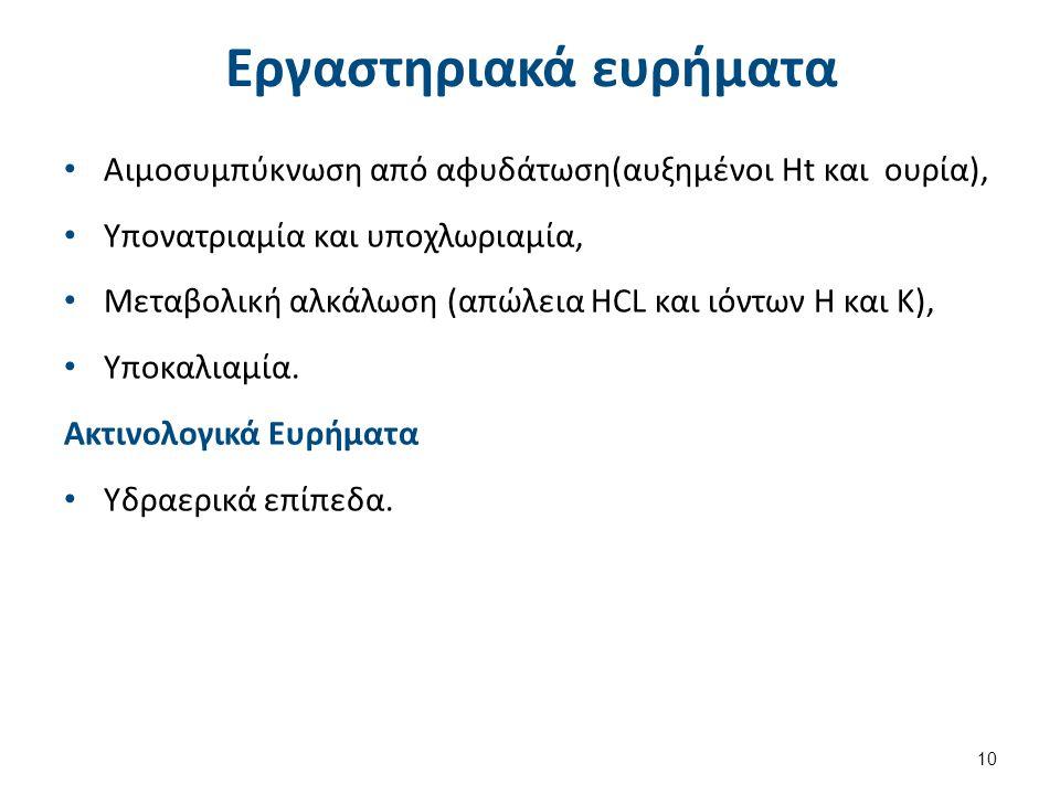Εργαστηριακά ευρήματα Αιμοσυμπύκνωση από αφυδάτωση(αυξημένοι Ht και ουρία), Υπονατριαμία και υποχλωριαμία, Μεταβολική αλκάλωση (απώλεια HCL και ιόντων