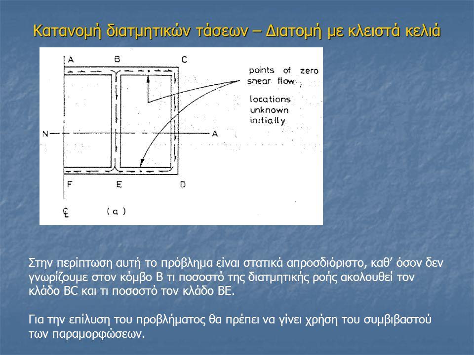 Κατανομή διατμητικών τάσεων – Διατομή με κλειστά κελιά Στην περίπτωση αυτή το πρόβλημα είναι στατικά απροσδιόριστο, καθ' όσον δεν γνωρίζουμε στον κόμβ