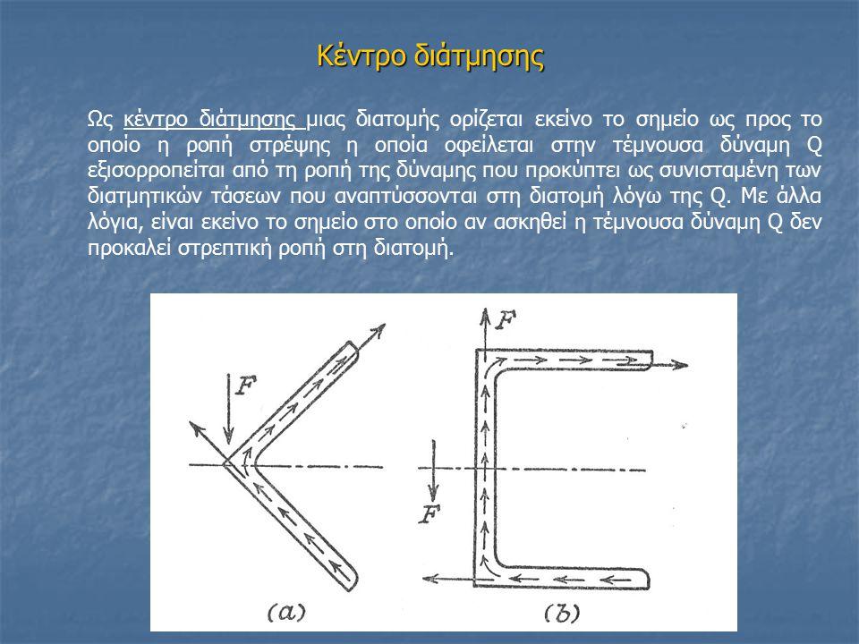 Κέντρο διάτμησης Ως κέντρο διάτμησης μιας διατομής ορίζεται εκείνο το σημείο ως προς το οποίο η ροπή στρέψης η οποία οφείλεται στην τέμνουσα δύναμη Q