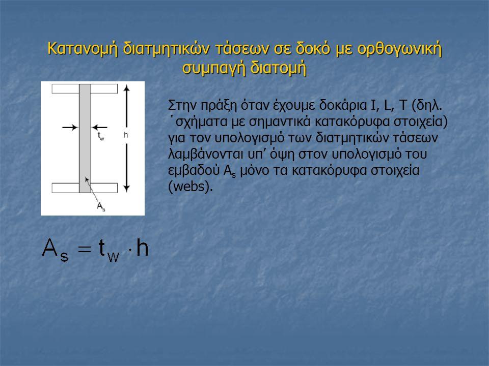 Κατανομή διατμητικών τάσεων σε δοκό με ορθογωνική συμπαγή διατομή Στην πράξη όταν έχουμε δοκάρια Ι, L, T (δηλ. ΄σχήματα με σημαντικά κατακόρυφα στοιχε
