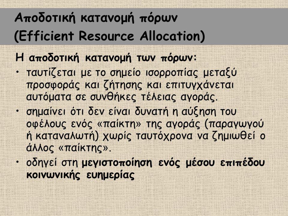 Η αποδοτική κατανομή των πόρων: ταυτίζεται με το σημείο ισορροπίας μεταξύ προσφοράς και ζήτησης και επιτυγχάνεται αυτόματα σε συνθήκες τέλειας αγοράς.