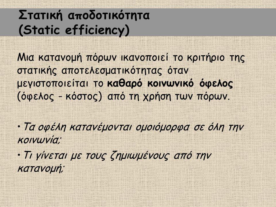 Στατική αποδοτικότητα (Static efficiency) Μια κατανομή πόρων ικανοποιεί το κριτήριο της στατικής αποτελεσματικότητας όταν μεγιστοποιείται το καθαρό κοινωνικό όφελος (όφελος - κόστος) από τη χρήση των πόρων.