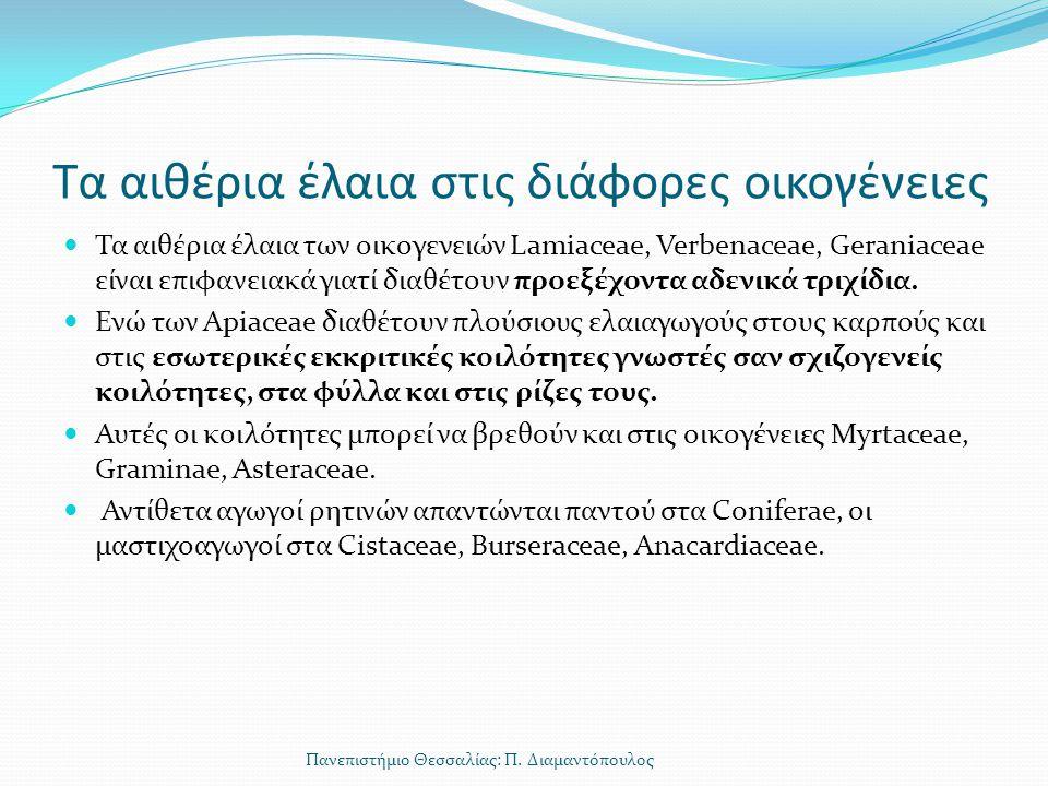Τα αιθέρια έλαια στις διάφορες οικογένειες Τα αιθέρια έλαια των οικογενειών Lamiaceae, Verbenaceae, Geraniaceae είναι επιφανειακά γιατί διαθέτουν προε