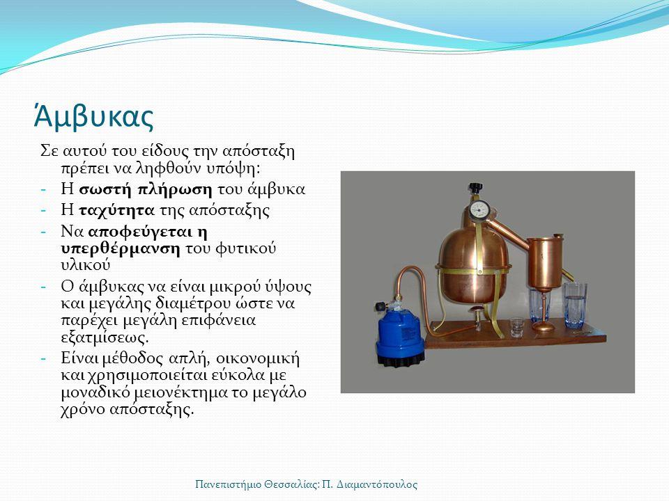Άμβυκας Σε αυτού του είδους την απόσταξη πρέπει να ληφθούν υπόψη: - Η σωστή πλήρωση του άμβυκα - Η ταχύτητα της απόσταξης - Να αποφεύγεται η υπερθέρμα