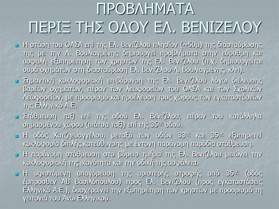 ΠΡΟΒΛΗΜΑΤΑ ΠΕΡΙΞ ΤΗΣ ΟΔΟΥ ΕΛ. ΒΕΝΙΖΕΛΟΥ Η στάση του ΟΑΣΑ επί της Ελ. Βενιζέλου πλησίον (~50μ) της διασταύρωσης της με την Λ. Βουλιαγμένης δημιουργεί π