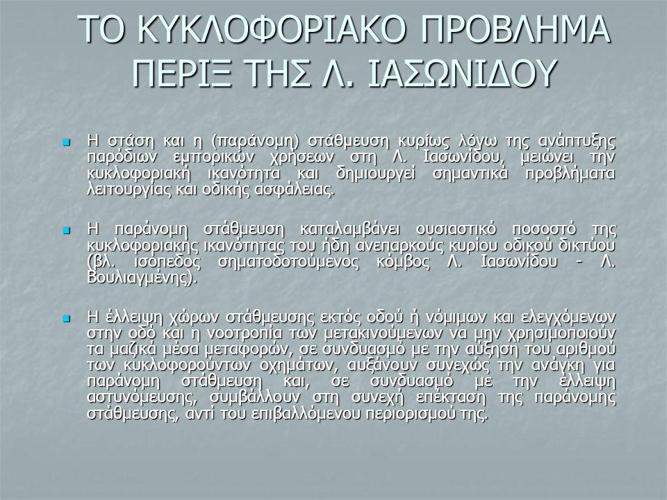 ΤΟ ΚΥΚΛΟΦΟΡΙΑΚΟ ΠΡΟΒΛΗΜΑ ΠΕΡΙΞ ΤΗΣ Λ. ΙΑΣΩΝΙΔΟΥ Η στάση και η (παράνομη) στάθμευση κυρίως λόγω της ανάπτυξη ς παρόδιων εμπορικών χρήσεων στη Λ. Ιασωνί