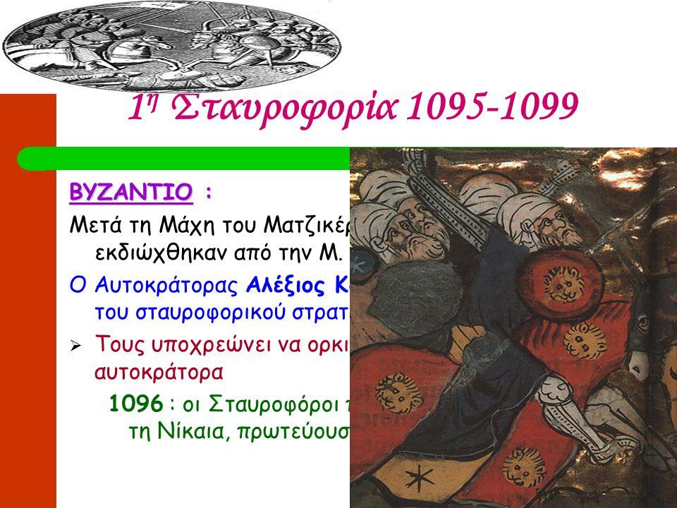 1 η Σταυροφορία 1095-1099 ΒΥΖΑΝΤΙΟ : Μετά τη Μάχη του Ματζικέρτ (1071) οι βυζαντινοί εκδιώχθηκαν από την Μ. Ασία Ο Αυτοκράτορας Αλέξιος Κομνηνός δίνει