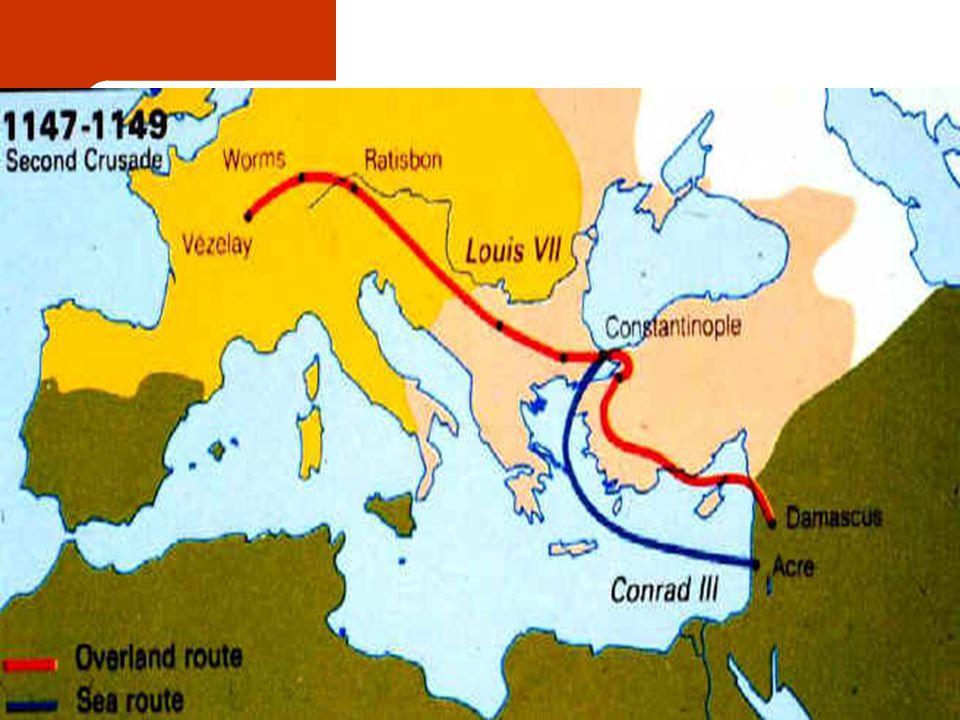 2 η Σταυροφορία 1147-1149 1144: Πτώση της Έδεσσαςο Πάπας Ευγένιος Γ' Κηρύσσει νέα σταυροφορία το 1147 Κορράδος Γ' Κινούνται ξεχωριστά κατά Λουδοβίκος