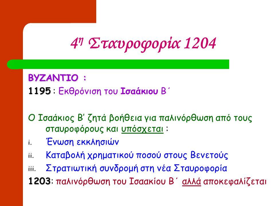 4 η Σταυροφορία 1204 ΒΥΖΑΝΤΙΟ : 1195 1195 : Εκθρόνιση του Ισαάκιου Β΄ Ο Ισαάκιος Β' ζητά βοήθεια για παλινόρθωση από τους σταυροφόρους και υπόσχεται :