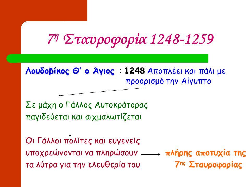 7 η Σταυροφορία 1248-1259 Λουδοβίκος Θ' ο Άγιος1248 Λουδοβίκος Θ' ο Άγιος : 1248 Αποπλέει και πάλι με προορισμό την Αίγυπτο Σε μάχη ο Γάλλος Αυτοκράτο