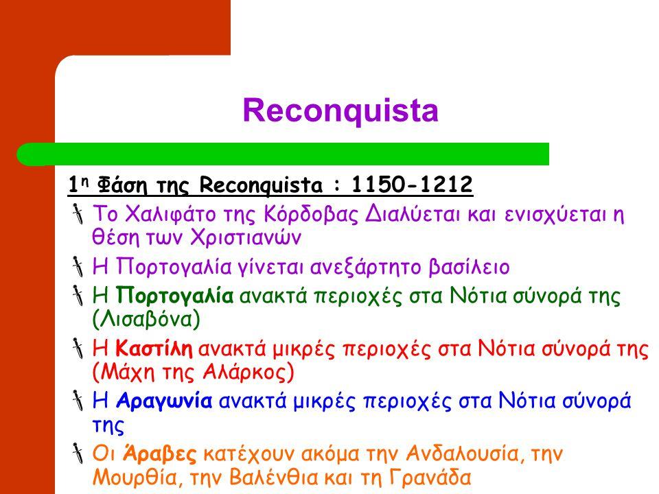 Reconquista 2 η Φάση της Reconquista : 1212-1275  Ισχυρή αντεπίθεση των Χριστιανών  Η Πορτογαλία κατακτά όλο το Νότιο τμήμα μέχρι τις ακτές της Μεσογείου  Η Καστίλη κατακτά τις περιοχές της Ανδαλουσίας και της Μουρθίας (Μάχη της Λας Ναβας ντε Τολόζα)  Η Αραγωνία κατακτά την Βαλένθια  Οι Άραβες πριορίζονται στο Μουσουλμανικό βασίλειο της Γρανάδας στα Νότια της Ιβηρικής Χερσονήσου