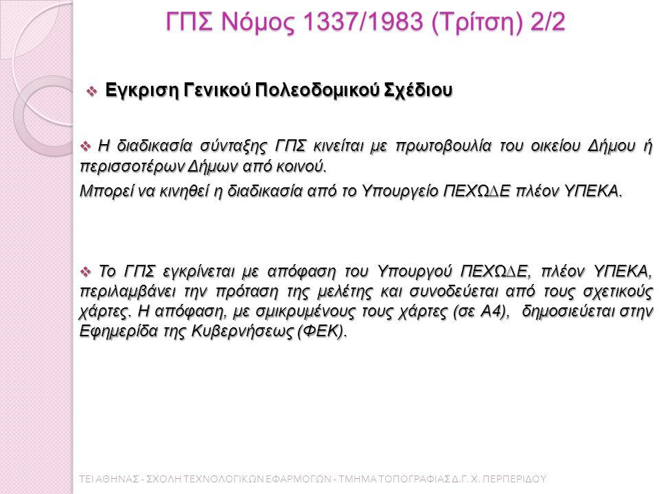 ΓΠΣ Νόμος 1337/1983 (Τρίτση) 2/2  Εγκριση Γενικού Πολεοδοµικού Σχέδιου  Η διαδικασία σύνταξης ΓΠΣ κινείται µε πρωτοβουλία του οικείου Δήµου ή περισσοτέρων Δήµων από κοινού.