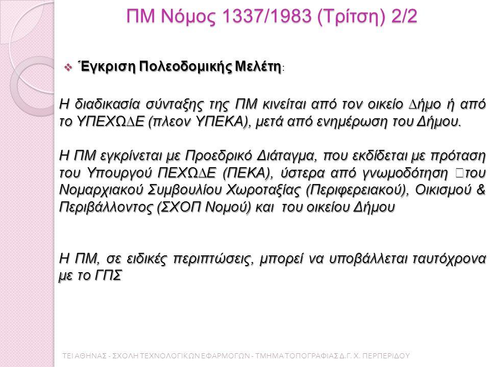 ΠΜ Νόμος 1337/1983 (Τρίτση) 2/2  Έγκριση Πολεοδομικής Μελέτη  Έγκριση Πολεοδομικής Μελέτη : Η διαδικασία σύνταξης της ΠΜ κινείται από τον οικείο ∆ήµο ή από το ΥΠΕΧΩ∆Ε (πλεον ΥΠΕΚΑ), μετά από ενημέρωση του Δήµου.