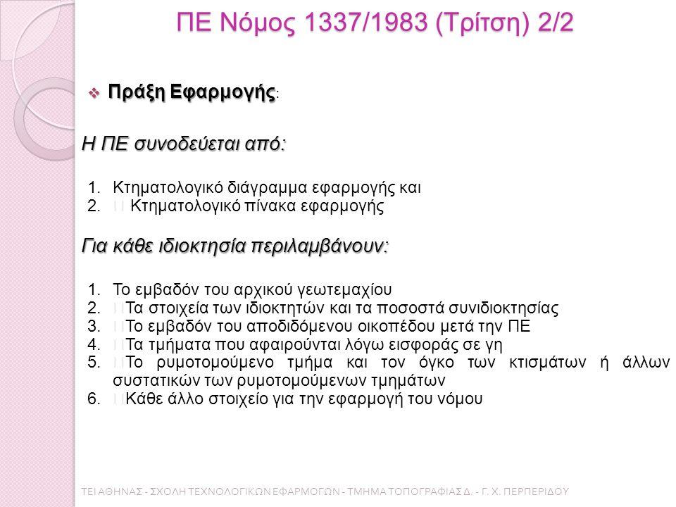 """ΠΕ Νόμος 1337/1983 (Τρίτση) 2/2  Πράξη Εφαρμογής  Πράξη Εφαρμογής : Η ΠΕ συνοδεύεται από: 1.Κτηματολογικό διάγραµµα εφαρμογής και 2."""" Κτηματολογικό πίνακα εφαρμογής Για κάθε ιδιοκτησία περιλαμβάνουν: 1.Το εμβαδόν του αρχικού γεωτεµαχίου 2.""""Τα στοιχεία των ιδιοκτητών και τα ποσοστά συνιδιοκτησίας 3.""""Το εμβαδόν του αποδιδόμενου οικοπέδου μετά την ΠΕ 4.""""Τα τμήματα που αφαιρούνται λόγω εισφοράς σε γη 5.""""Το ρυµοτοµούµενο τµήµα και τον όγκο των κτισµάτων ή άλλων συστατικών των ρυµοτοµούµενων τµηµάτων 6.""""Κάθε άλλο στοιχείο για την εφαρµογή του νόµου ΤΕΙ ΑΘΗΝΑΣ - ΣΧΟΛΗ ΤΕΧΝΟΛΟΓΙΚΩΝ ΕΦΑΡΜΟΓΩΝ - ΤΜΗΜΑ ΤΟΠΟΓΡΑΦΙΑΣ Δ."""