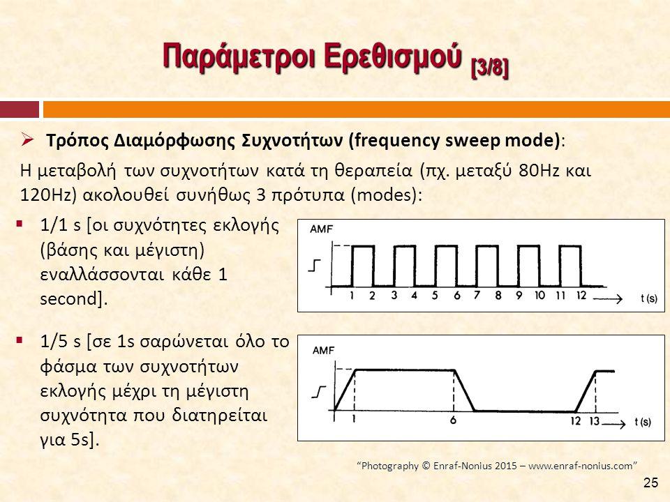 Παράμετροι Ερεθισμού [3/8]  Τρόπος Διαμόρφωσης Συχνοτήτων (frequency sweep mode): Η μεταβολή των συχνοτήτων κατά τη θεραπεία (πχ.