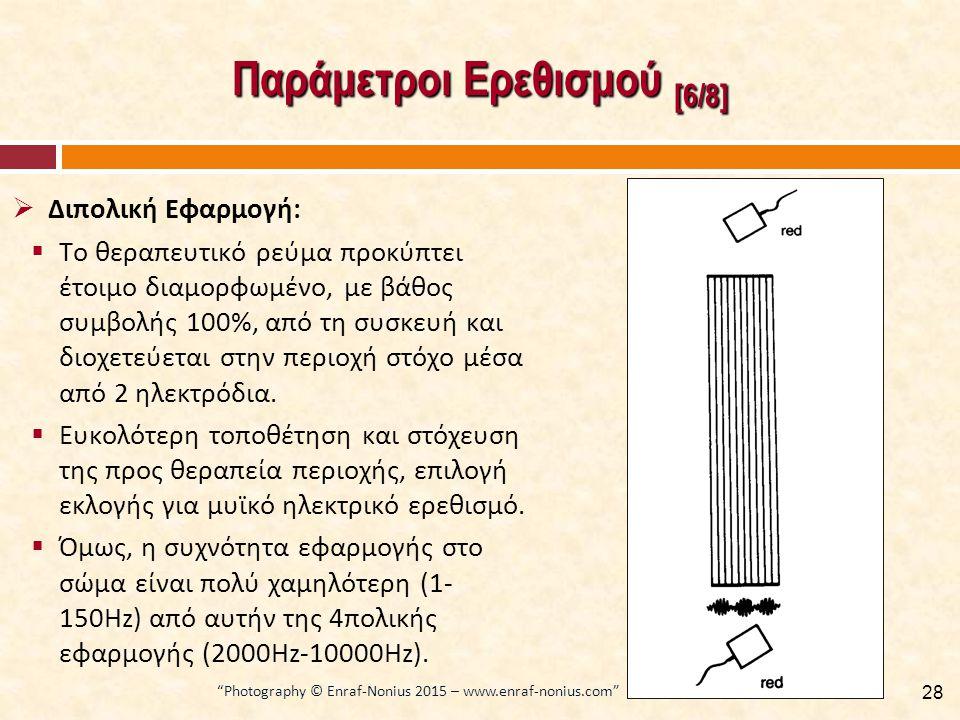 Παράμετροι Ερεθισμού [6/8]  Διπολική Εφαρμογή:  Το θεραπευτικό ρεύμα προκύπτει έτοιμο διαμορφωμένο, με βάθος συμβολής 100%, από τη συσκευή και διοχετεύεται στην περιοχή στόχο μέσα από 2 ηλεκτρόδια.