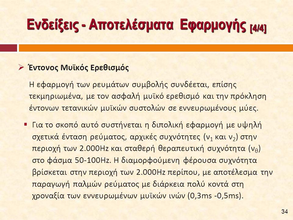 Ενδείξεις - Αποτελέσματα Εφαρμογής [4/4]  Έντονος Μυϊκός Ερεθισμός Η εφαρμογή των ρευμάτων συμβολής συνδέεται, επίσης τεκμηριωμένα, με τον ασφαλή μυϊκό ερεθισμό και την πρόκληση έντονων τετανικών μυϊκών συστολών σε εννευρωμένους μύες.