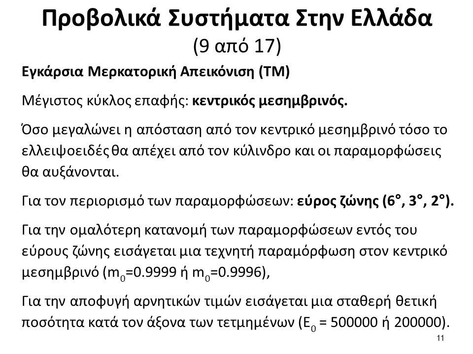 Προβολικά Συστήματα Στην Ελλάδα (9 από 17) Εγκάρσια Μερκατορική Απεικόνιση (ΤΜ) Μέγιστος κύκλος επαφής: κεντρικός μεσημβρινός. Όσο μεγαλώνει η απόστασ