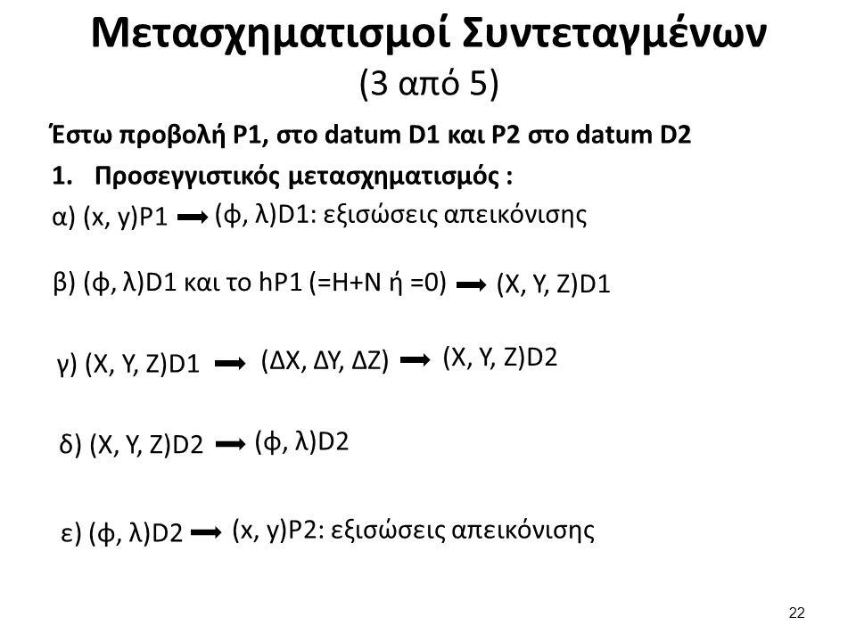 Μετασχηματισμοί Συντεταγμένων (3 από 5) Έστω προβολή P1, στο datum D1 και P2 στο datum D2 1.Προσεγγιστικός μετασχηματισμός : α) (x, y)P1 (φ, λ)D1: εξι