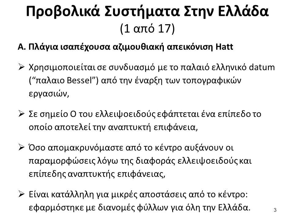Προβολικά Συστήματα Στην Ελλάδα (1 από 17) Α. Πλάγια ισαπέχουσα αζιμουθιακή απεικόνιση Hatt  Χρησιμοποιείται σε συνδυασμό με το παλαιό ελληνικό datum