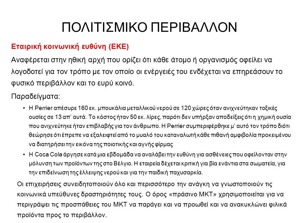 Εταιρική κοινωνική ευθύνη (ΕΚΕ) Αναφέρεται στην ηθική αρχή που ορίζει ότι κάθε άτομο ή οργανισμός οφείλει να λογοδοτεί για τον τρόπο με τον οποίο οι ε