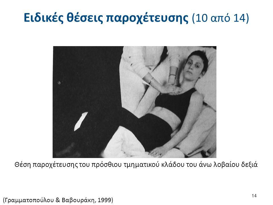 Ειδικές θέσεις παροχέτευσης (10 από 14) Θέση παροχέτευσης του πρόσθιου τμηματικού κλάδου του άνω λοβαίου δεξιά (Γραμματοπούλου & Βαβουράκη, 1999) 14