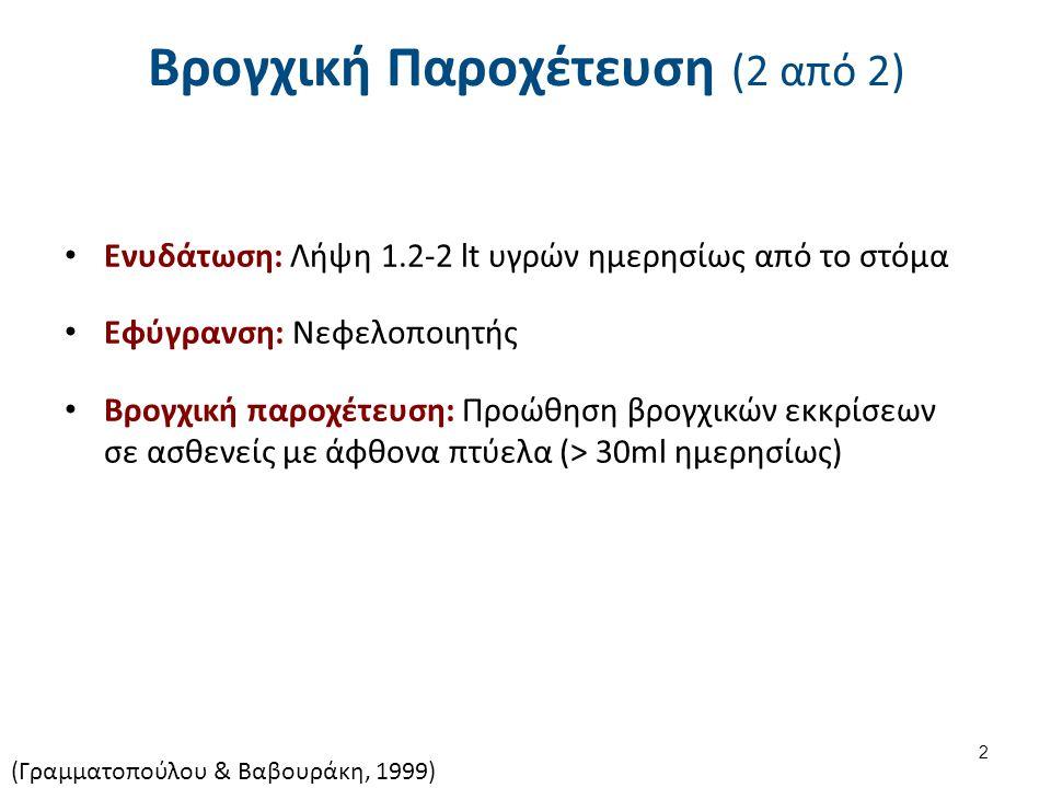Βρογχική Παροχέτευση (2 από 2) Ενυδάτωση: Λήψη 1.2-2 lt υγρών ημερησίως από το στόμα Εφύγρανση: Νεφελοποιητής Βρογχική παροχέτευση: Προώθηση βρογχικών