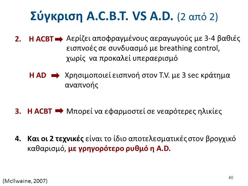 Σύγκριση A.C.B.T. VS A.D. (2 από 2) 2.Η ACBT Αερίζει αποφραγμένους αεραγωγούς με 3-4 βαθιές εισπνοές σε συνδυασμό με breathing control, χωρίς να προκα