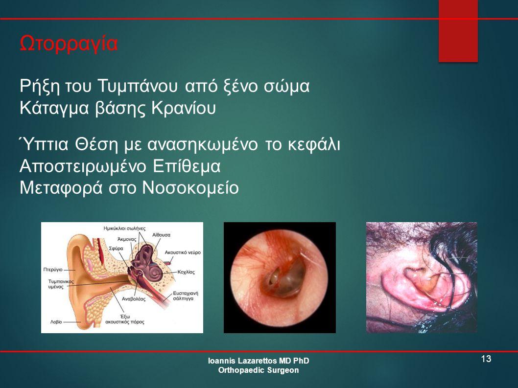 13 Ωτορραγία Ioannis Lazarettos MD PhD Orthopaedic Surgeon Ρήξη του Τυμπάνου από ξένο σώμα Κάταγμα βάσης Κρανίου Ύπτια Θέση με ανασηκωμένο το κεφάλι Α