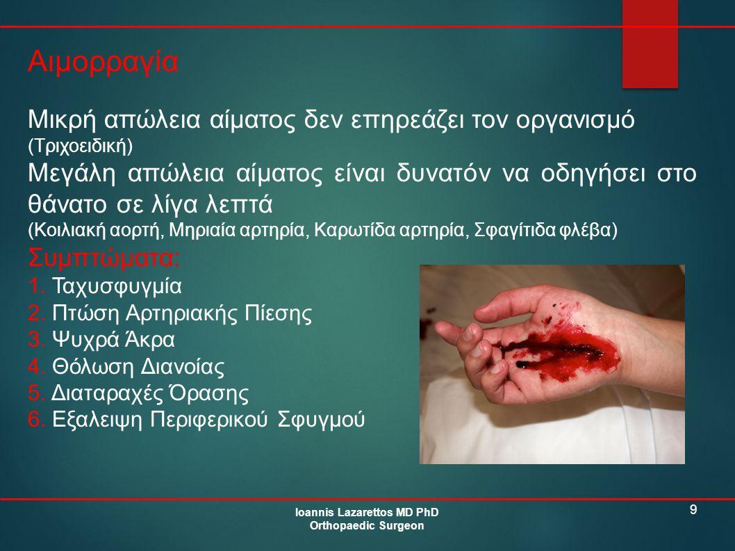 9 Αιμορραγία Ioannis Lazarettos MD PhD Orthopaedic Surgeon Μικρή απώλεια αίματος δεν επηρεάζει τον οργανισμό (Τριχοειδική) Μεγάλη απώλεια αίματος είνα