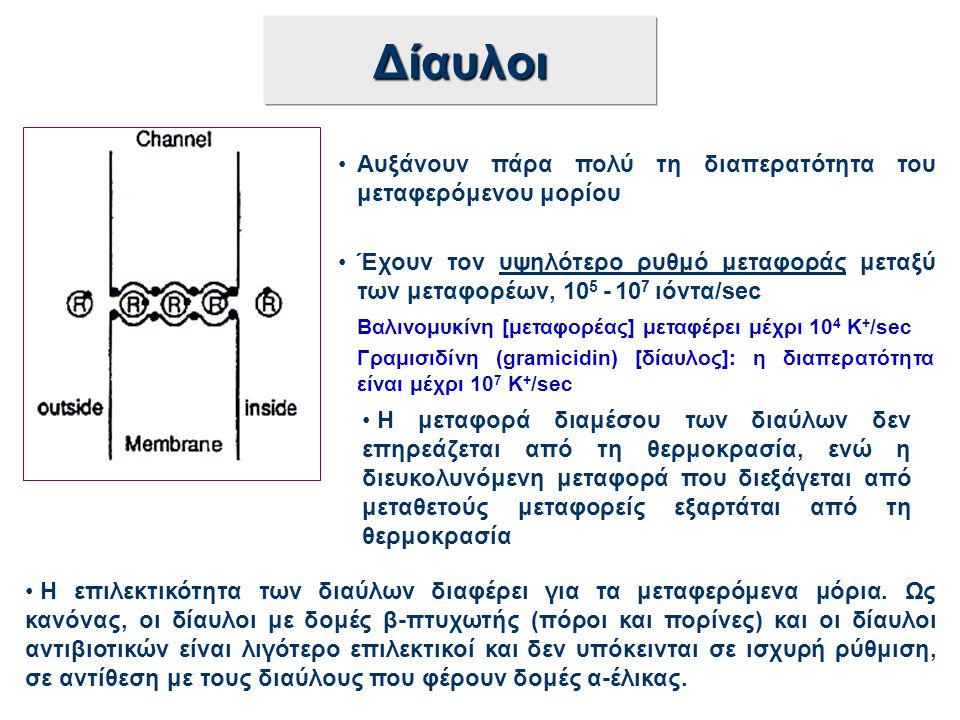 Δίαυλοι Αυξάνουν πάρα πολύ τη διαπερατότητα του μεταφερόμενου μορίου Έχουν τον υψηλότερο ρυθμό μεταφοράς μεταξύ των μεταφορέων, 10 5 - 10 7 ιόντα/sec