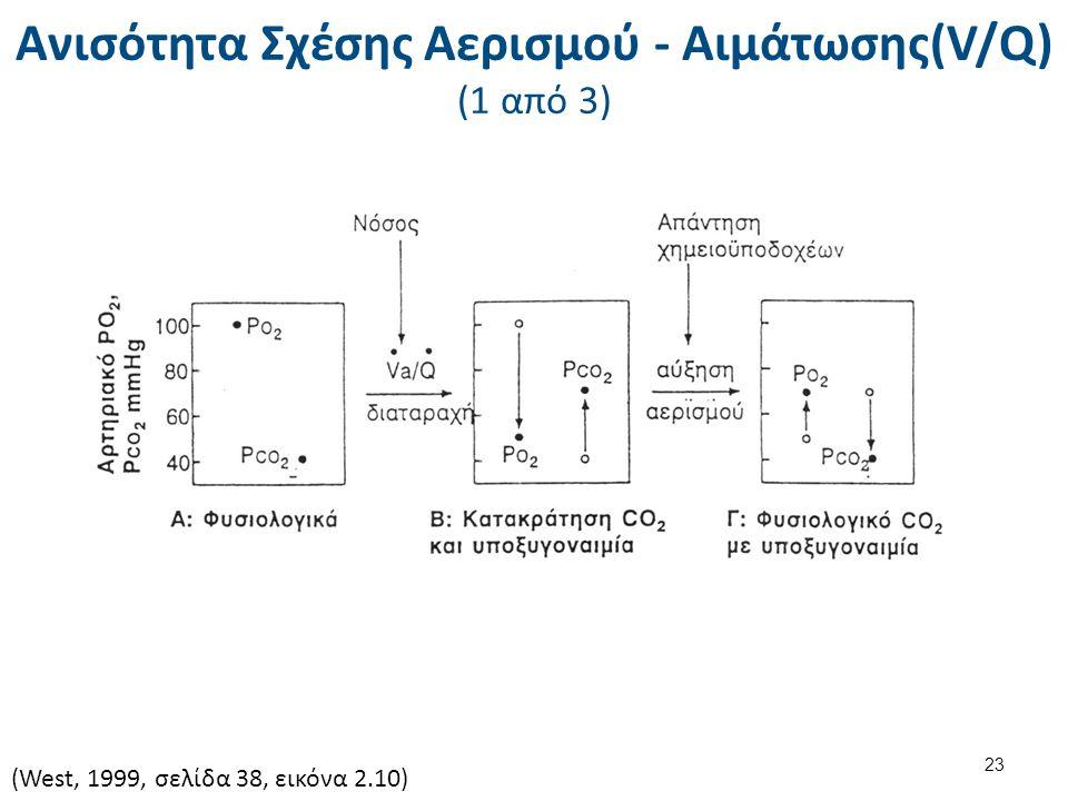Ανισότητα Σχέσης Αερισμού - Αιμάτωσης(V/Q) (1 από 3) (West, 1999, σελίδα 38, εικόνα 2.10) 23
