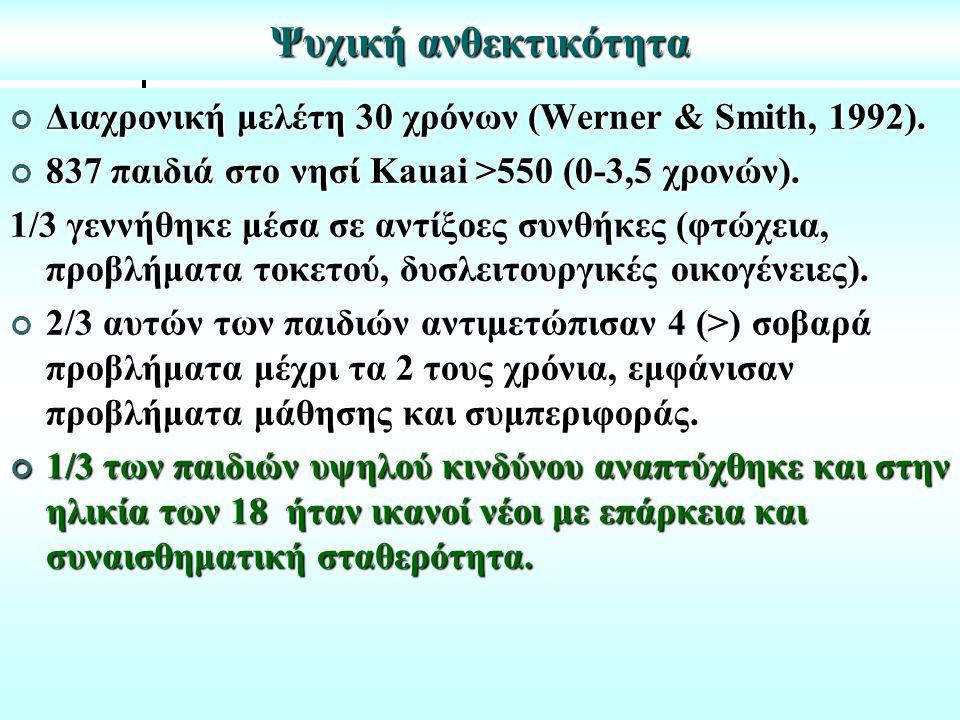 Ψυχική ανθεκτικότητα Διαχρονική μελέτη 30 χρόνων (Werner & Smith, 1992).