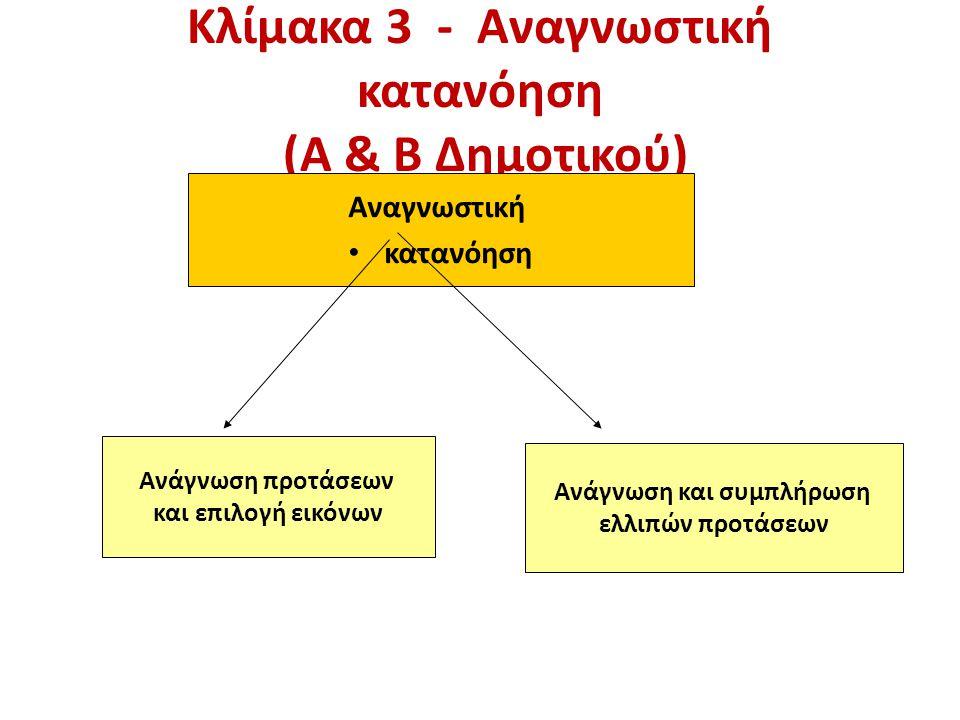 Κλίμακα 3 - Αναγνωστική κατανόηση (Α & Β Δημοτικού) Αναγνωστική κατανόηση Ανάγνωση προτάσεων και επιλογή εικόνων Ανάγνωση και συμπλήρωση ελλιπών προτάσεων
