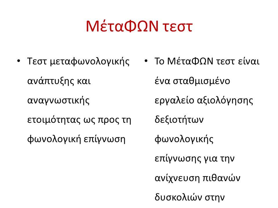 ΜέταΦΩΝ τεστ Τεστ μεταφωνολογικής ανάπτυξης και αναγνωστικής ετοιμότητας ως προς τη φωνολογική επίγνωση Το ΜέταΦΩΝ τεστ είναι ένα σταθμισμένο εργαλείο αξιολόγησης δεξιοτήτων φωνολογικής επίγνωσης για την ανίχνευση πιθανών δυσκολιών στην ανάγνωση και στη γραφή