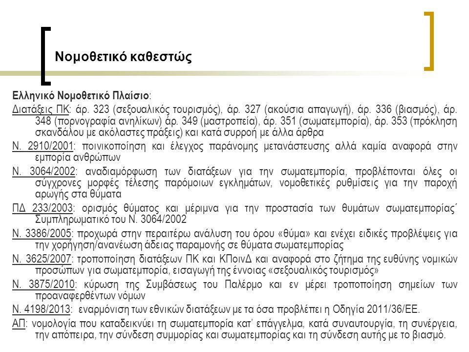 Ελληνικό Νομοθετικό Πλαίσιο : Διατάξεις ΠΚ: άρ. 323 (σεξουαλικός τουρισμός), άρ.