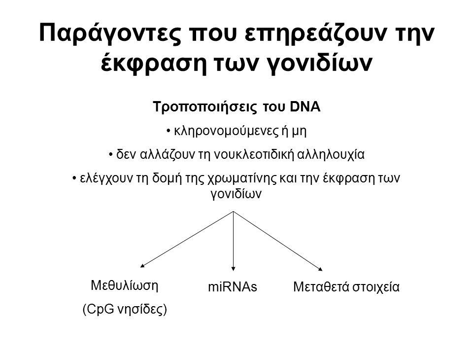 Παράγοντες που επηρεάζουν την έκφραση των γονιδίων Τροποποιήσεις του DNA κληρονομούμενες ή μη δεν αλλάζουν τη νουκλεοτιδική αλληλουχία ελέγχουν τη δομ