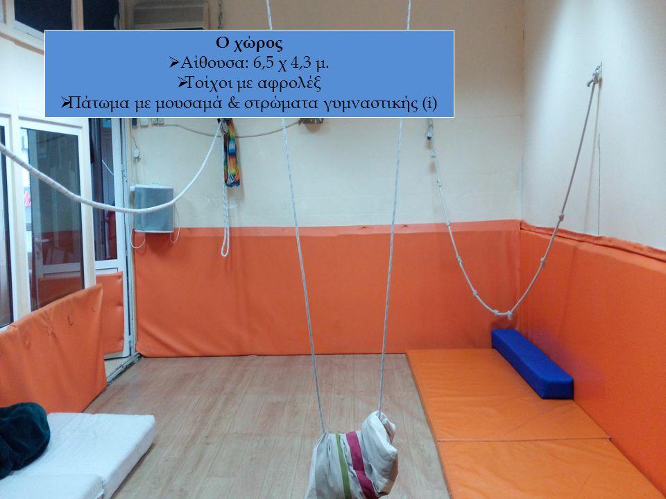 Ο χώρος  Αίθουσα: 6,5 χ 4,3 μ.  Τοίχοι με αφρολέξ  Πάτωμα με μουσαμά & στρώματα γυμναστικής (i)